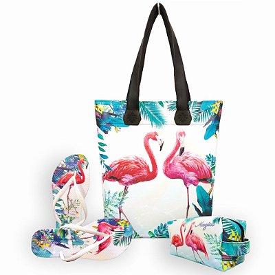 Kit Flamingos com Bolsa, Necessaire e Chinelo, Magicc
