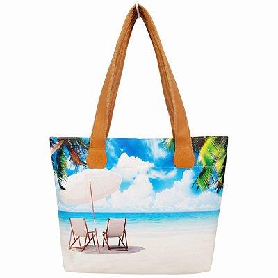 Bolsa Feminina com Estampa Praia, Magicc