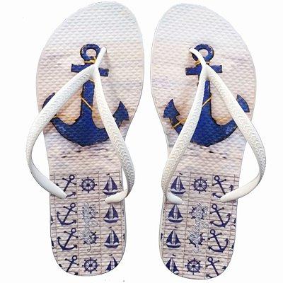 Chinelo Feminino Branco com Âncora Azul, Magicc