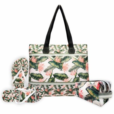 Kit Tropical com Bolsa, Necessaire e Chinelo, Magicc