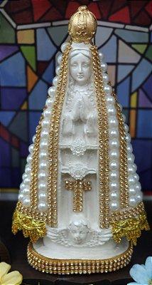 Nossa Senhora Aparecida pérolas e brilho branca – 20cm