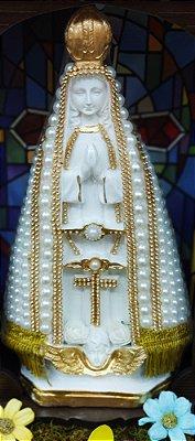 Nossa Senhora Aparecida pérolas branca – 30cm