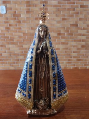 Nossa Senhora Aparecida pérola azul 32cm