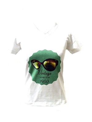 CAMISETA MALHA BABY LOOK Feminino _Gola V_Modelo: VINTAGE 1950 cor Verde