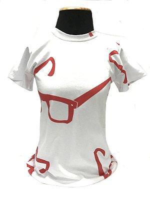 CAMISETA MALHA BABY LOOK Feminino _Gola V_Modelo: STRACCIATTA cor Branco/Vermelho
