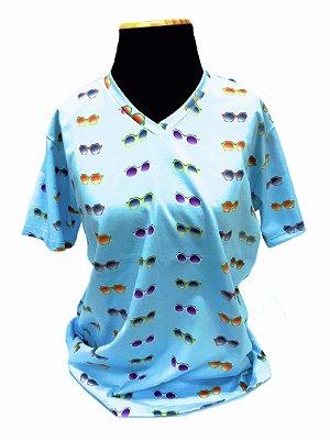 CAMISETA MALHA BABY LOOK Feminino _Gola V_Modelo: BUCCIA cor Azul Claro