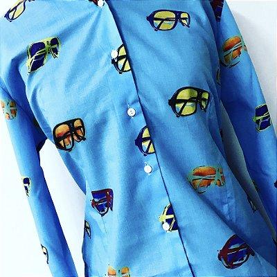 CAMISA ALFAIATARIA Tricoline Feminina Modelo: SENVENTIES cor Azul