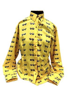 CAMISA ALFAIATARIA Tricoline Feminina Modelo: BUCCIA cor Amarelo