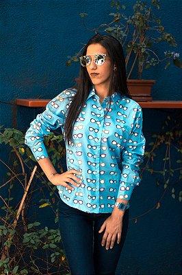 CAMISA ALFAIATARIA Tricoline Feminina Modelo: BIA cor Azul