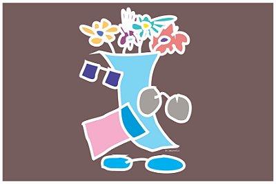 MICROFIBRA Limpeza Customizada Modelo: Vaso Flores Negativo