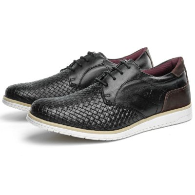 Oxford Confort Trice Preto-Bordo Couro Legitimo