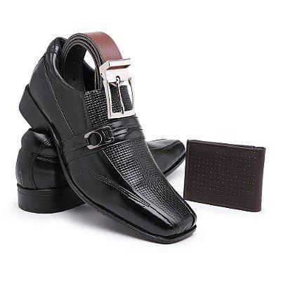 Sapato Social masculino Confort Em Couro Nobre Furadinho Com Cinto e Carteira