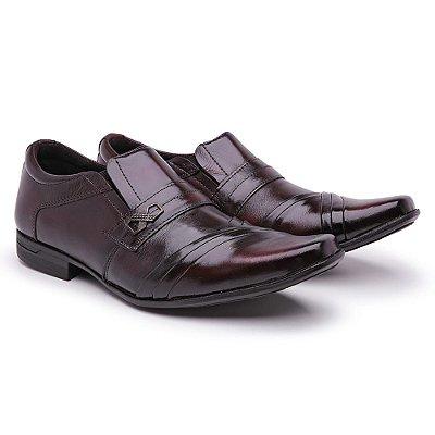 Sapato Social Masculino Confort Em couro Nobre Testurizado Café Queimado