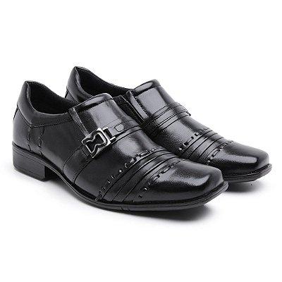Sapato Social Masculino Em Couro Nobre Estilo Metalassê Preto