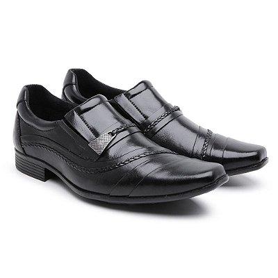 Sapato Social Masculino Em Couro Nobre Com Trice Lateral Preto