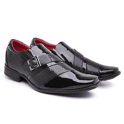 Sapato social  lazer Veniz Preto quadradinho  presilha