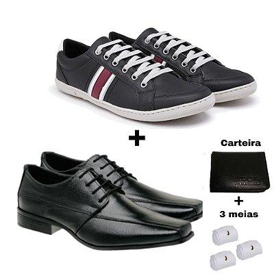 Kit sapatenis com sapato social  + carteira e 3 meias
