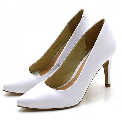 Sapato Scarpin Salto Alto Fino Branco