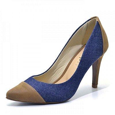 Scarpin Salto Alto Fino Tecido Jeans Azul e Nobucado Marrom