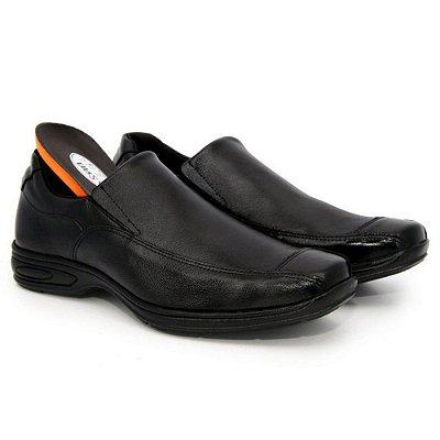 Sapato Anatômico Masculino Confort Anti Stress de Couro Legitimo Liso