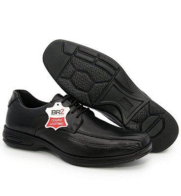 Sapato Anatômico Masculino Confort Anti Stress De Couro Legitimo Com Cadarço
