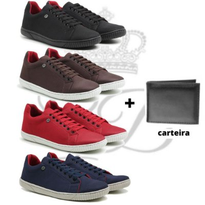 Kit 4 Pares Sapatenis Casual + carteira