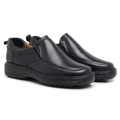 Sapato Conforto Anti-Stress Masculino Couro - Preto