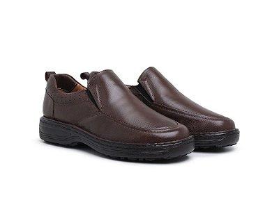 Sapato Conforto Anti-Stress Masculino Couro Café