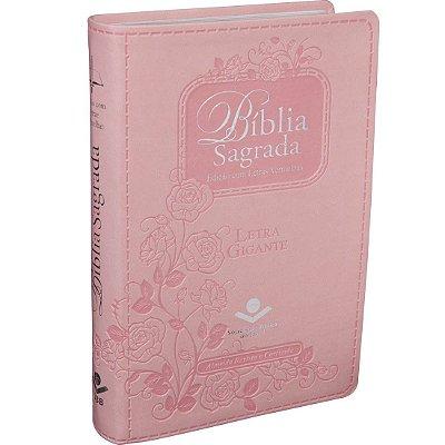 Bíblia Sagrada Letra Gigante  Rosa c/ Índice digital- Edição com Letras Vermelhas