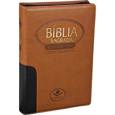Bíblia Sagrada RA Letra Gigante Preto e Marrom, com Zíper Color