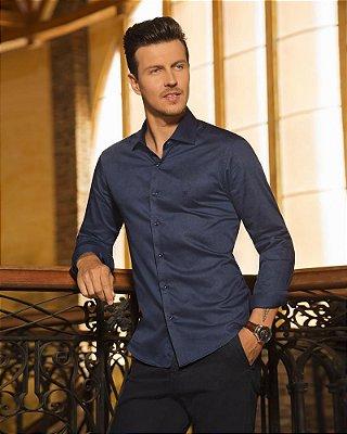 Camisa ML Baumgarten Algodão Pima Detalhada Azul