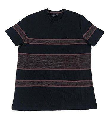Camiseta Manga Curta Slim Highstil Listras/Barrado