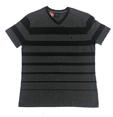 Camiseta Manga Curta Gola V Highstil Slim Listrada