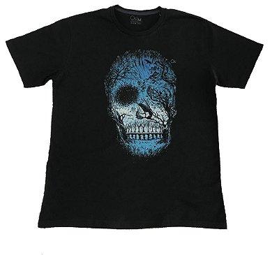 Camiseta Manga Curta Ogochi Caveira Slim Preta