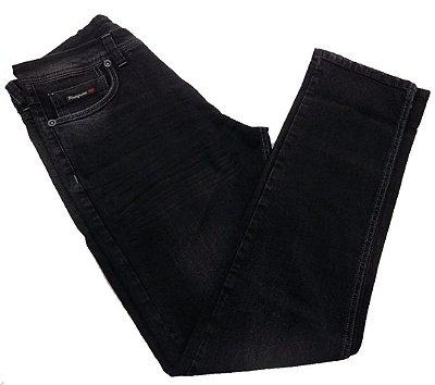 Calça Jeans Pininfarina Slim Fit Escura com Detalhes