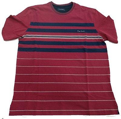 Camiseta Pierre Cardin Listrada Vermelha