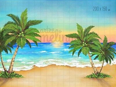 Fundo Fotográfico Pôr do Sol na Praia