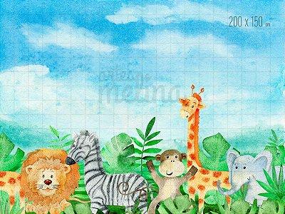 Fundo Fotográfico Animaizinhos no Safari