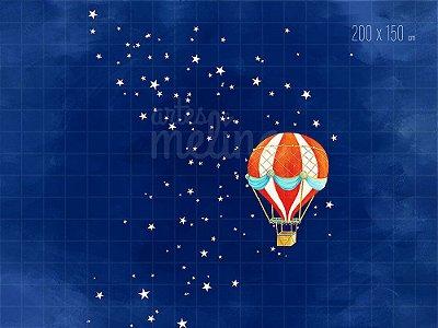 Fundo Fotográfico Balão em Céu Estrelado