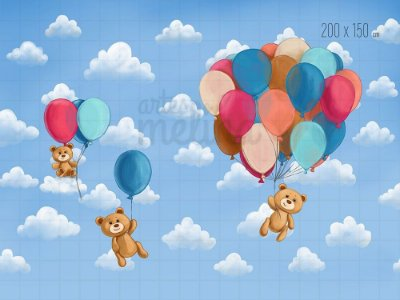 Fundo Fotográfico Balões e Ursinhos