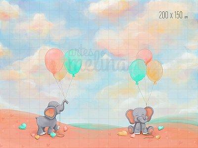 Fundo Fotográfico Elefantinhos