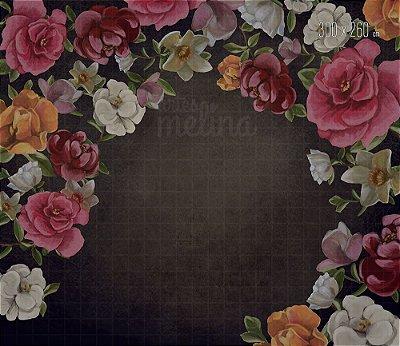 Fundo Fotográfico Flores no Fundo Escuro