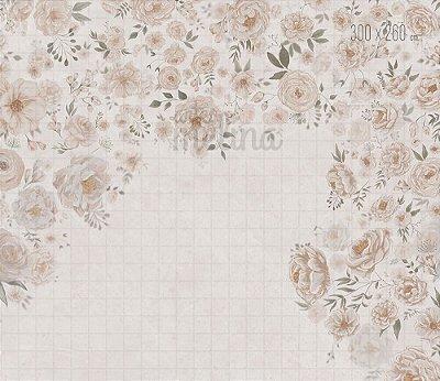 Fundo Fotográfico Textura Floral Bege