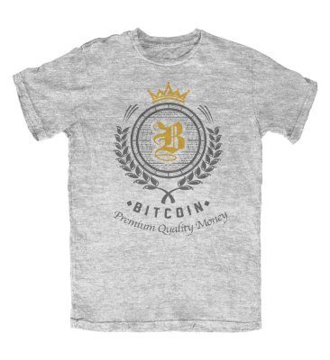 Camiseta Bitcoin Premium Quality Money Cinza Mescla