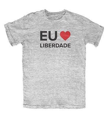 Camiseta Ideias Radicais Eu Amo Liberdade Cinza Mescla
