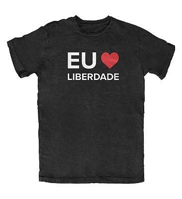 Camiseta Ideias Radicais Eu Amo Liberdade Preta