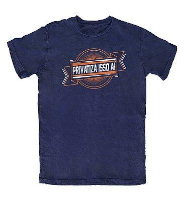 Camiseta Ideias Radicais Privatiza Isso Aí Azul Marinho
