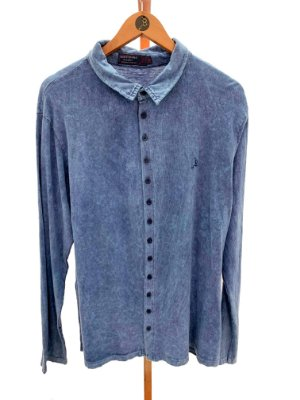 Camisa manga longa botões jeans / preto marmo
