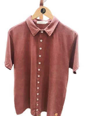 Camisa manga curta vinho marmorizada