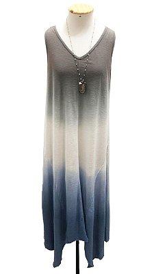 Vestido trancoso tie dye azul e branco